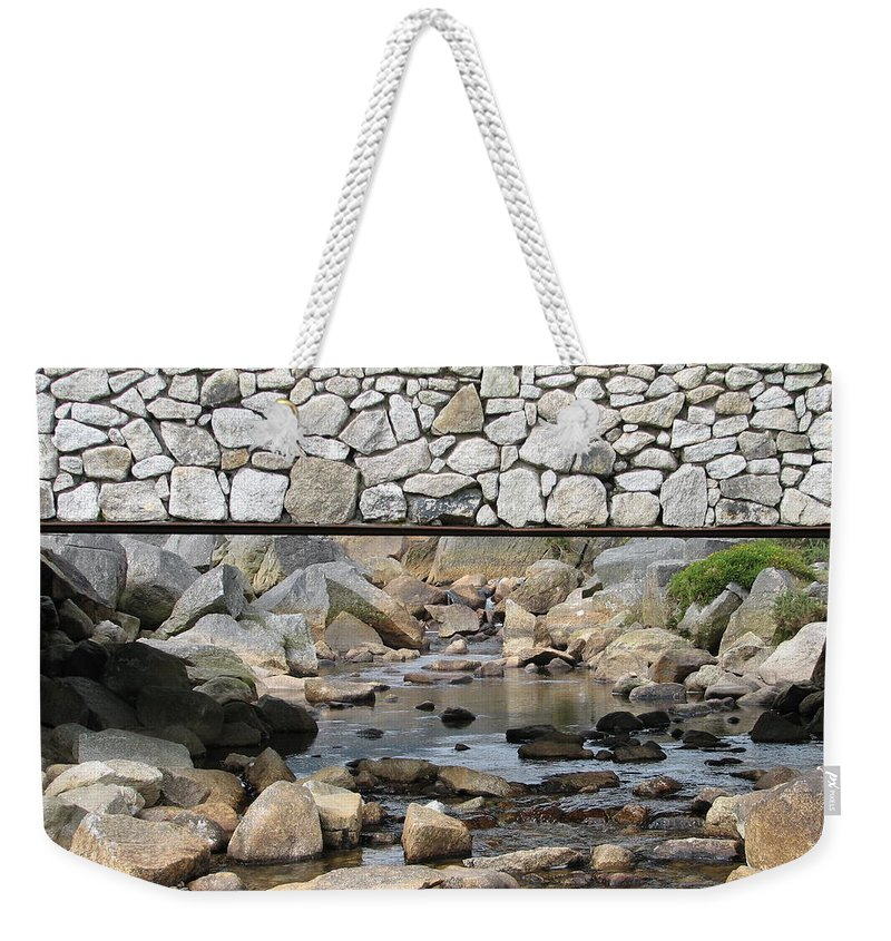 Stone Weekender Tote Bag featuring the photograph Stone Bridge by Kelly Mezzapelle