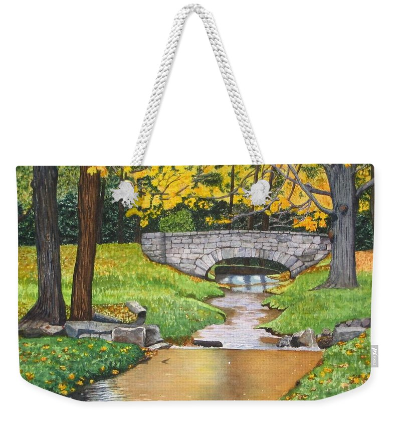 Landscape Weekender Tote Bag featuring the painting Stone Bridge by Sharon Farber