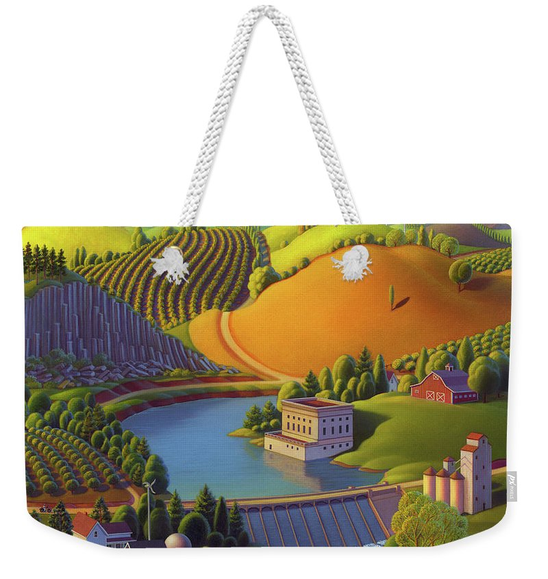 Palouse Valley Weekender Tote Bag featuring the painting Stone City West by Robin Moline