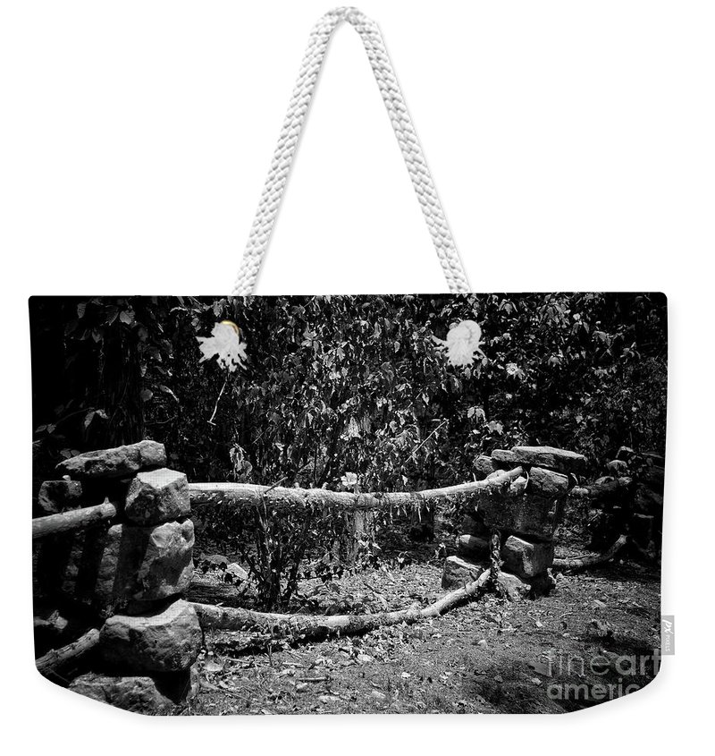 Rock Fence Weekender Tote Bag featuring the photograph Stone Fence B by John Myers