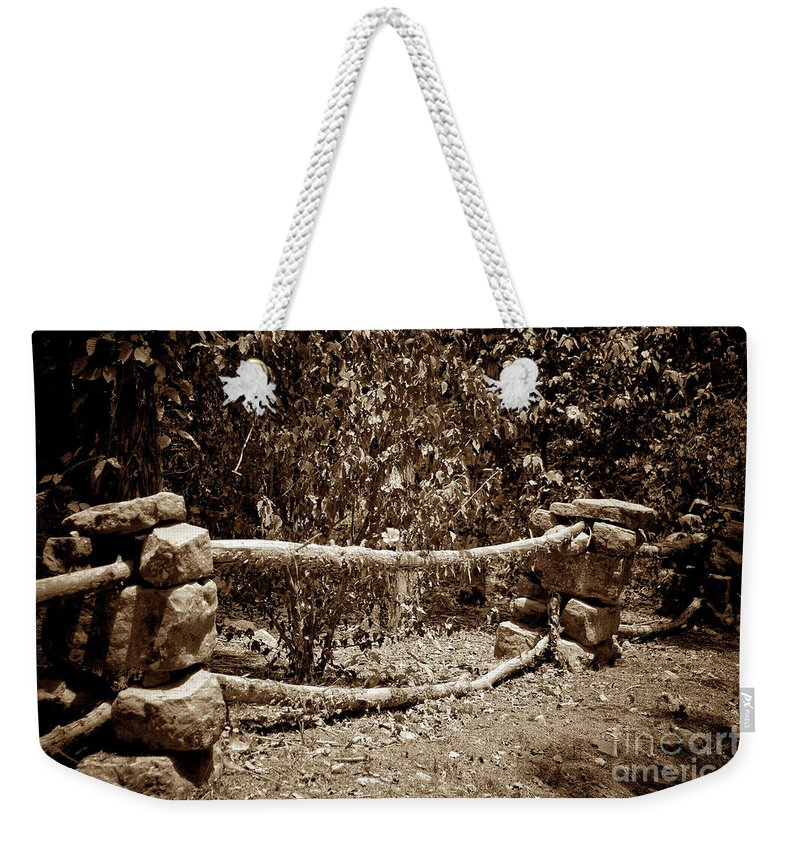 Rock Fence Weekender Tote Bag featuring the photograph Stone Fence S by John Myers