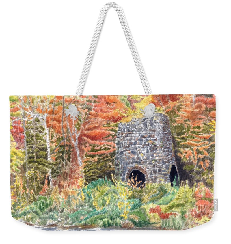 Stones Weekender Tote Bag featuring the painting Stone Furnace by Dominic White