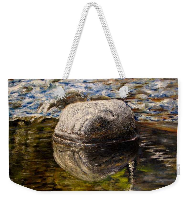 Original Painting Weekender Tote Bag featuring the painting Stone landscape original oil painting by Natalja Picugina