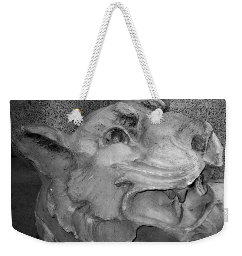 Sculpture Weekender Tote Bag featuring the photograph Stone Lion by Anita Burgermeister