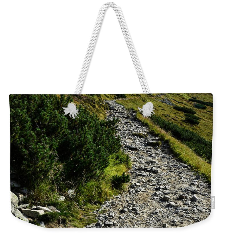 Seasonal Weekender Tote Bag featuring the photograph Stone Walkway Towards The Pointed Peak by Jozef Jankola