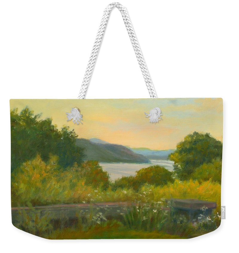Hudson River Weekender Tote Bag featuring the painting Stone Wall Above The Hudson by Phyllis Tarlow