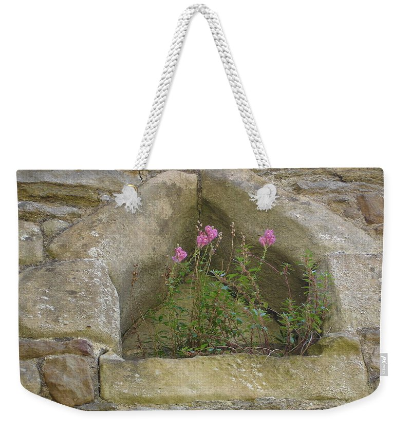 Flowr Weekender Tote Bag featuring the photograph Stone Wall Determination by Susan Baker