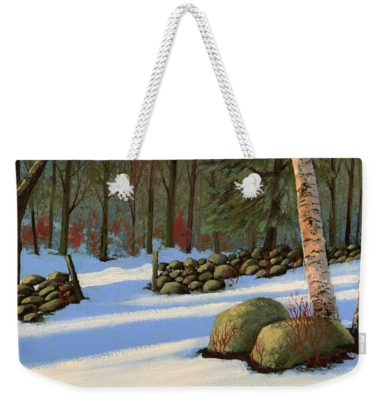 Landscape Weekender Tote Bag featuring the painting Stone Wall Gateway by Frank Wilson