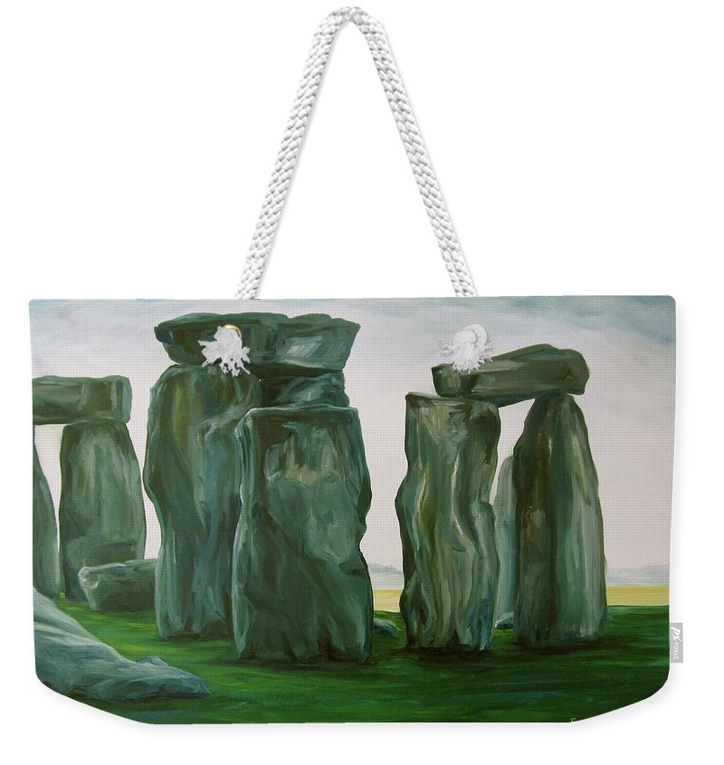 Stonehenge Weekender Tote Bag featuring the painting Stonehenge In Spring 2 by Jennifer Christenson