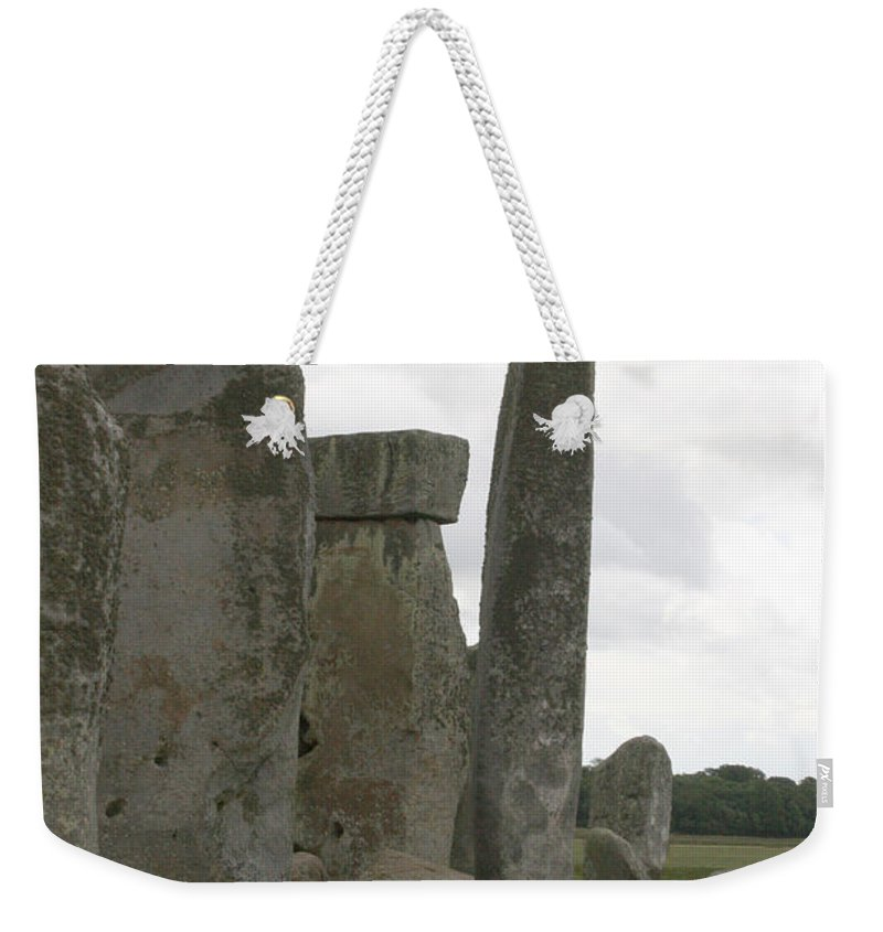 Human Weekender Tote Bag featuring the photograph Stonehenge Side Pillars by Mary Mikawoz