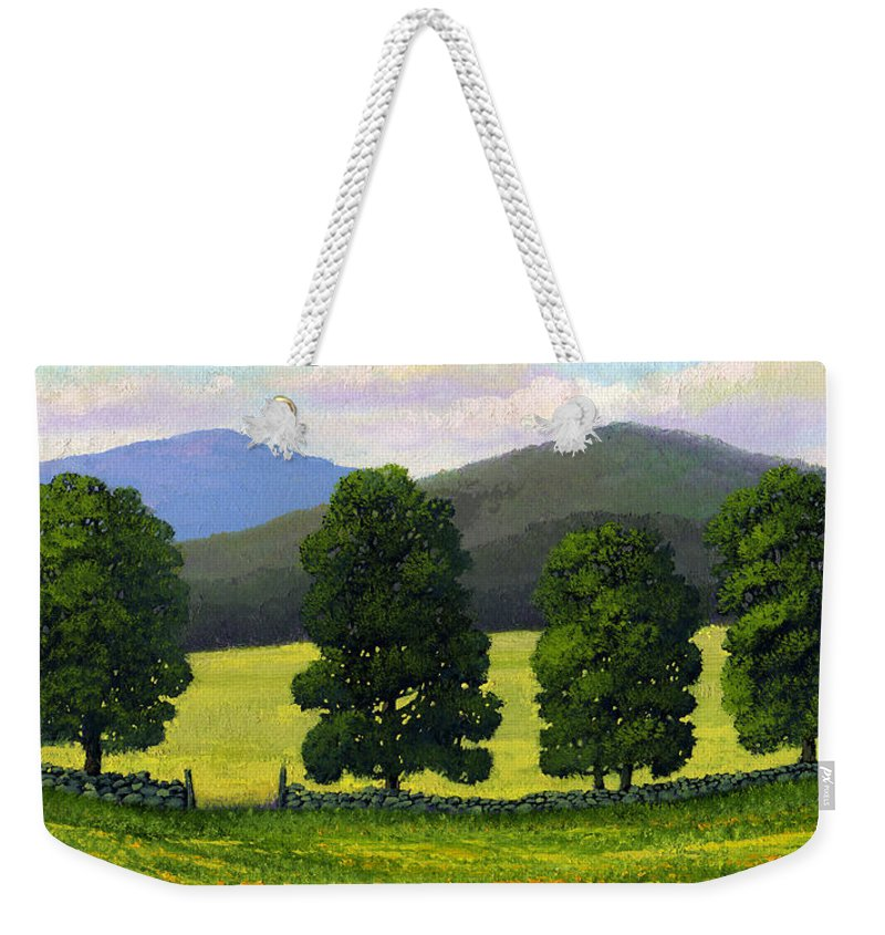Landscape Weekender Tote Bag featuring the painting Stonewall Field by Frank Wilson