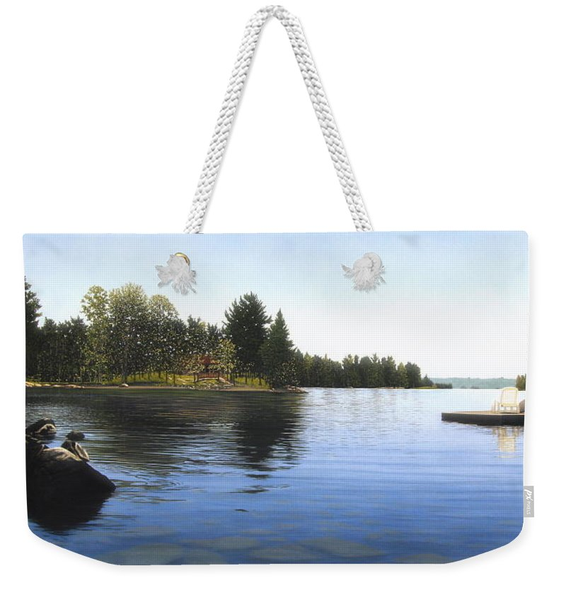 Landscapes Weekender Tote Bag featuring the painting Stoney Lake by Kenneth M Kirsch