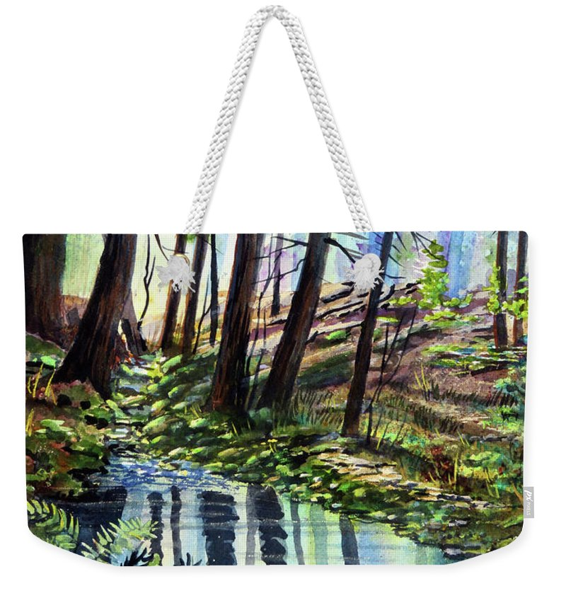 Forest Weekender Tote Bag featuring the painting Stoneybrook by Cheryl Johnson