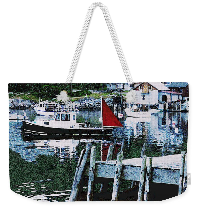 Maine Weekender Tote Bag featuring the photograph Stonington Harbor With Pier Maine Coast by Ed A Gage