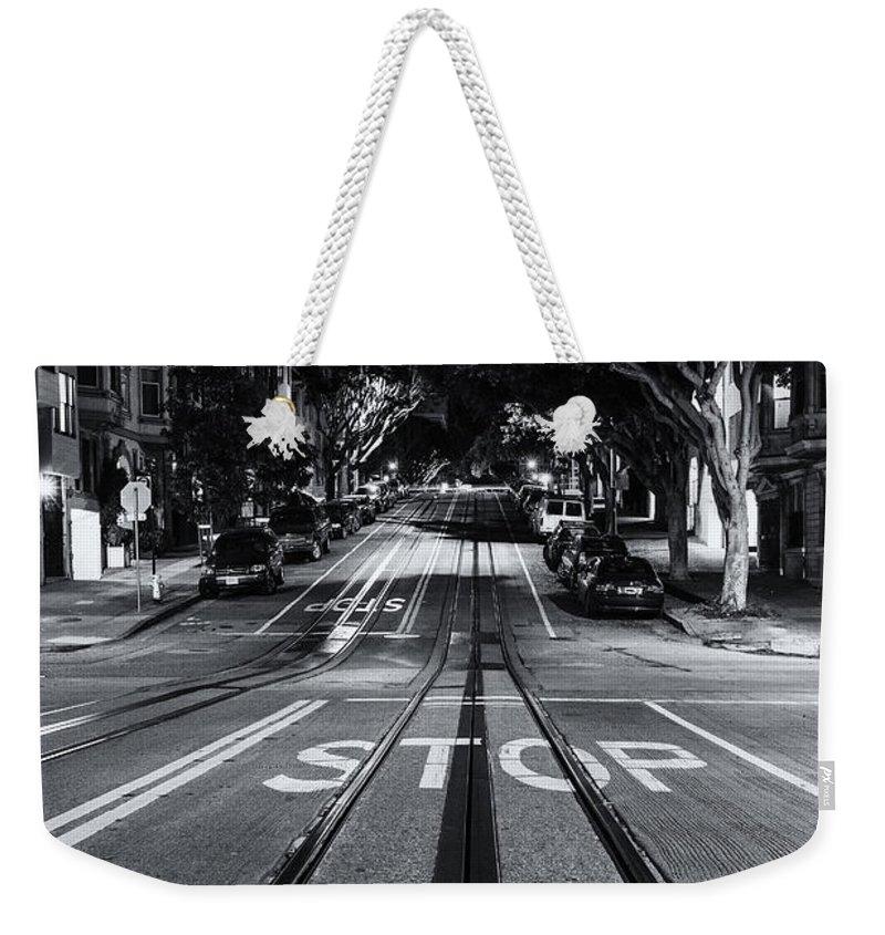 San Francisco Weekender Tote Bag featuring the photograph Stop Ahead by Digital Kulprits