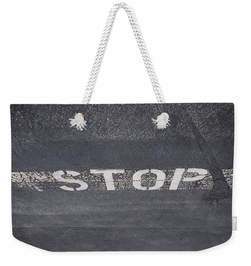 Black And White Weekender Tote Bag featuring the photograph Stop by Rob Hans