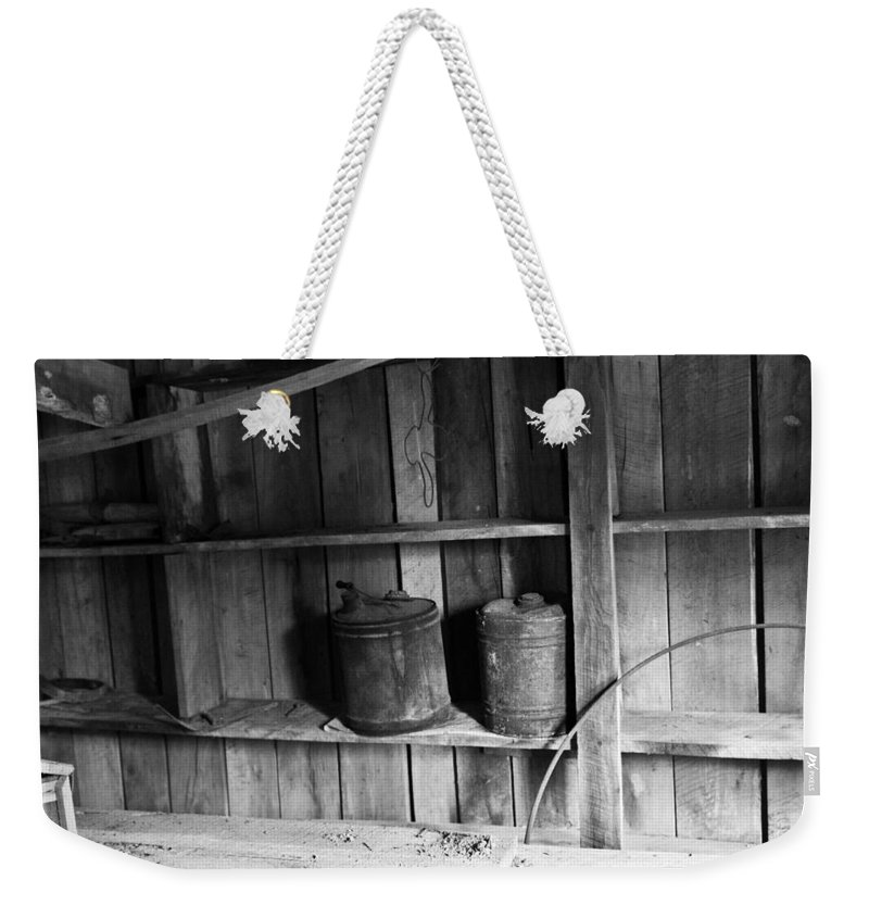 Gas Weekender Tote Bag featuring the photograph Storage Shed by Douglas Barnett