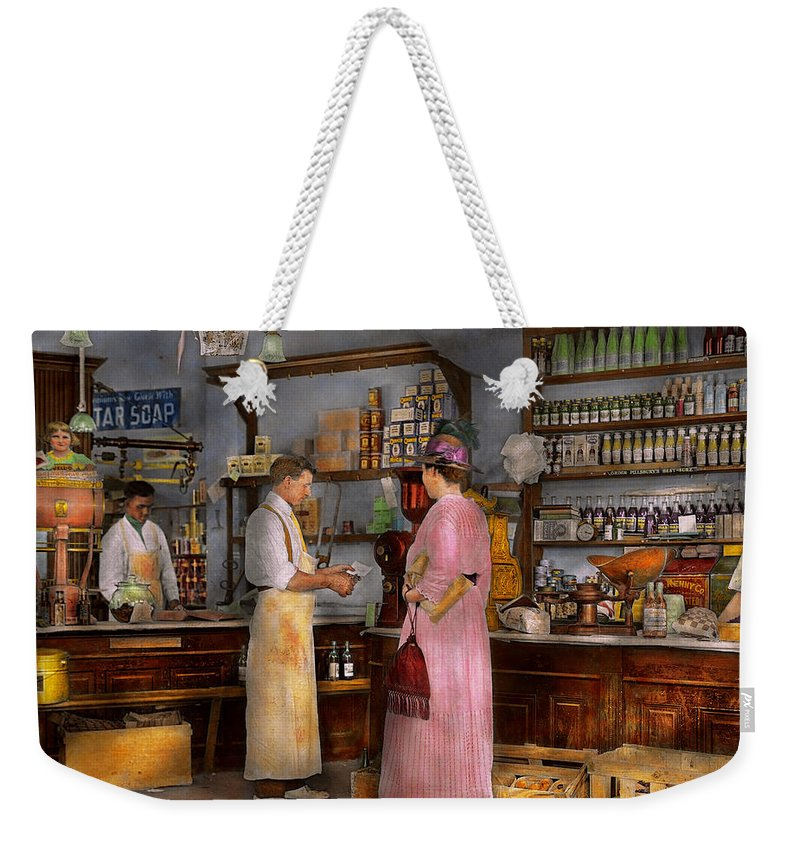 Self Weekender Tote Bag featuring the photograph Store - In A General Store 1917 by Mike Savad