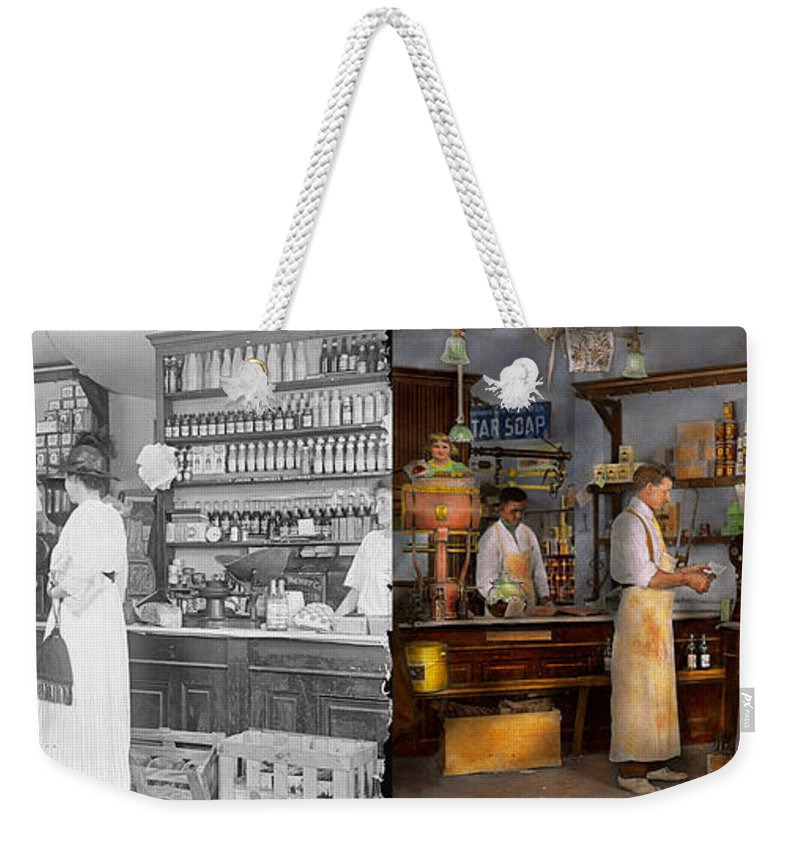 Self Weekender Tote Bag featuring the photograph Store - In A General Store 1917 Side By Side by Mike Savad