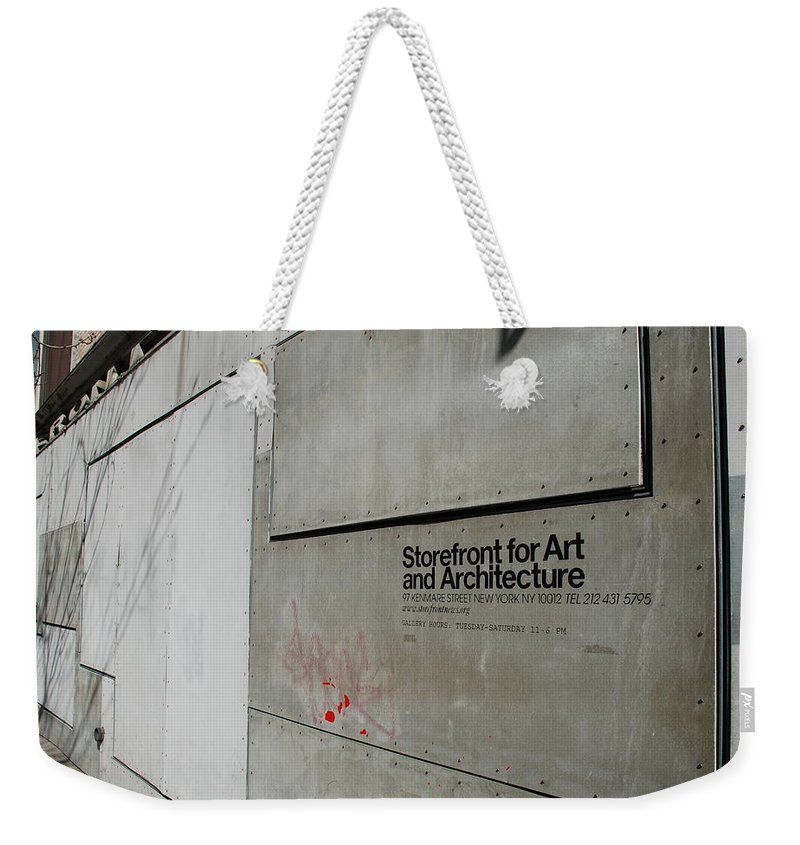 Storefront Weekender Tote Bag featuring the photograph Storefront For Art And Architecture by Rob Hans