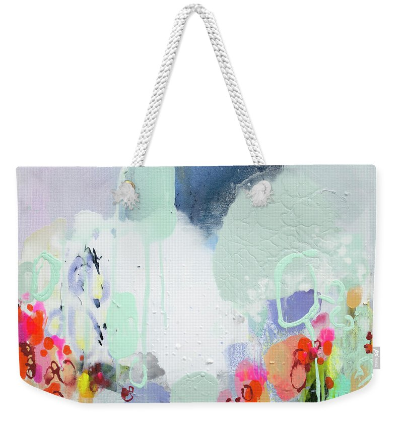 Abstract Weekender Tote Bag featuring the painting Stories by Claire Desjardins