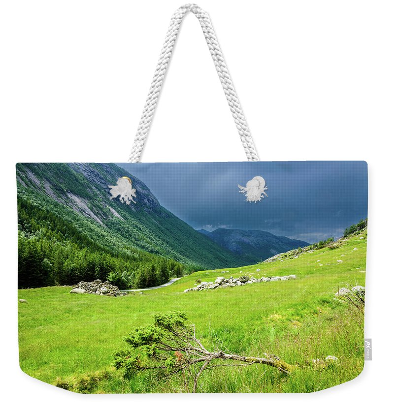 Moody Sky Weekender Tote Bag featuring the photograph Storm Approaching Over Beautiful Green Field In Norway by Todor Nikolov