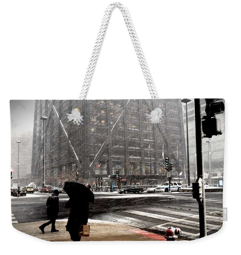 Chicago Weekender Tote Bag featuring the photograph Storm At The Hancock by Crossing Delaware