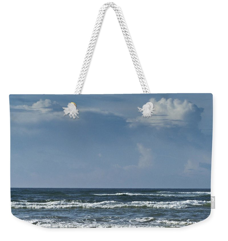 Ocean Weekender Tote Bag featuring the photograph Storm Clouds On The Horizon Ocean Isle North Carolina by Teresa Mucha