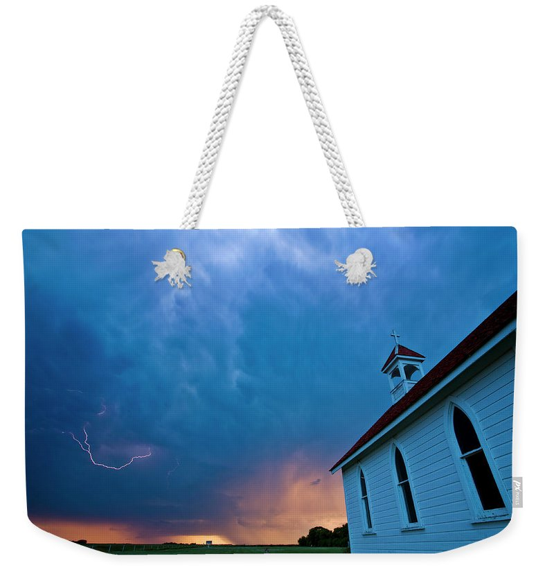 Church Weekender Tote Bag featuring the digital art Storm Clouds Over Saskatchewan Country Church by Mark Duffy