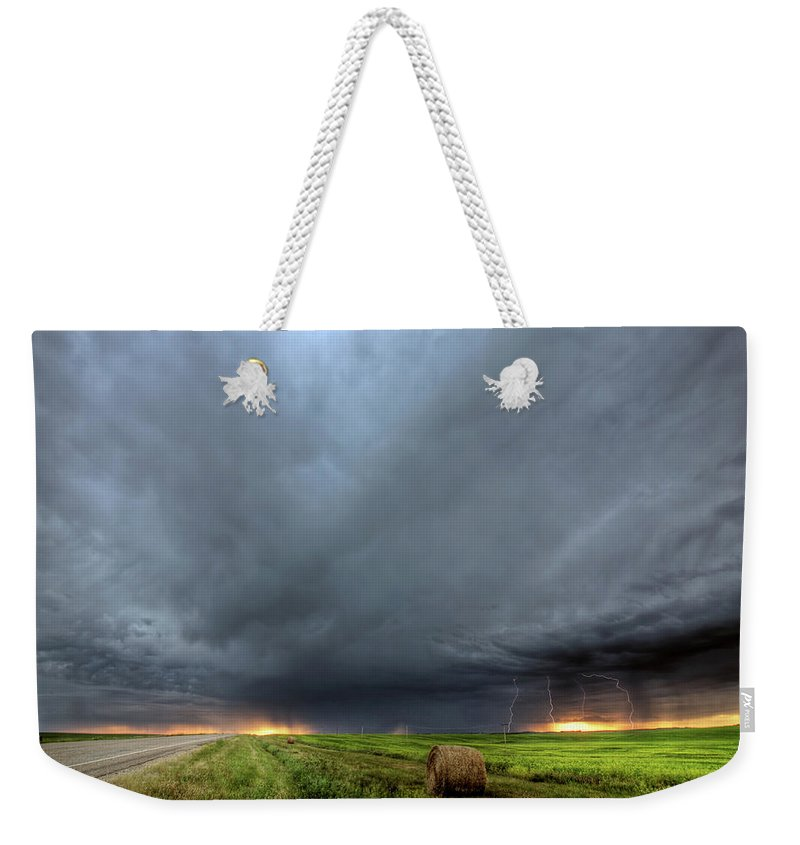 Cumulonimbus Weekender Tote Bag featuring the digital art Storm Clouds Over Saskatchewan by Mark Duffy