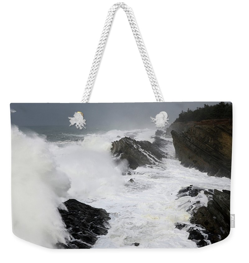 Lighthouse Weekender Tote Bag featuring the photograph Storm On The Oregon Coast 2 by Bob Christopher