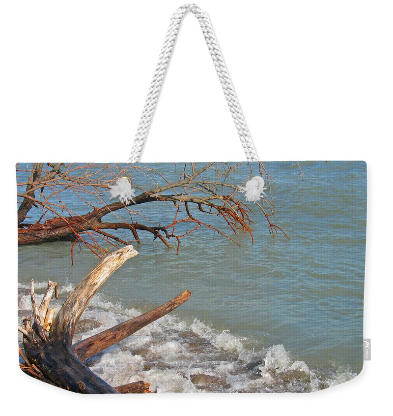Beach Weekender Tote Bag featuring the photograph Storm Ravaged by Ann Horn