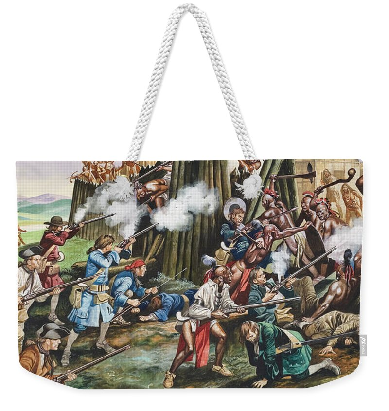 American Indian; Native; Soldier; Gun; Fortress; Axe; Tribe; Troop; Musket; Smoke; Fence; Fighting; Attack; Casualty; North Carolina; Battle; Siege; Revolt; Children's Illustration; Cherokee; Fort Weekender Tote Bag featuring the painting Storming Of The Fortress Of Neoheroka by Ron Embleton