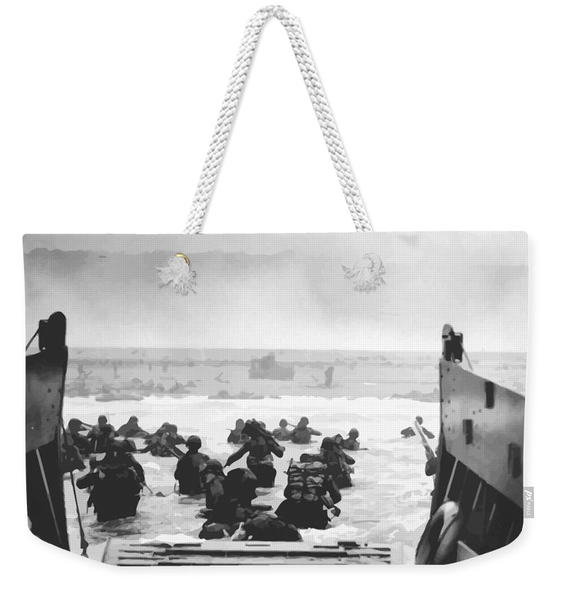 D Day Weekender Tote Bag featuring the painting Storming The Beach On D-day by War Is Hell Store