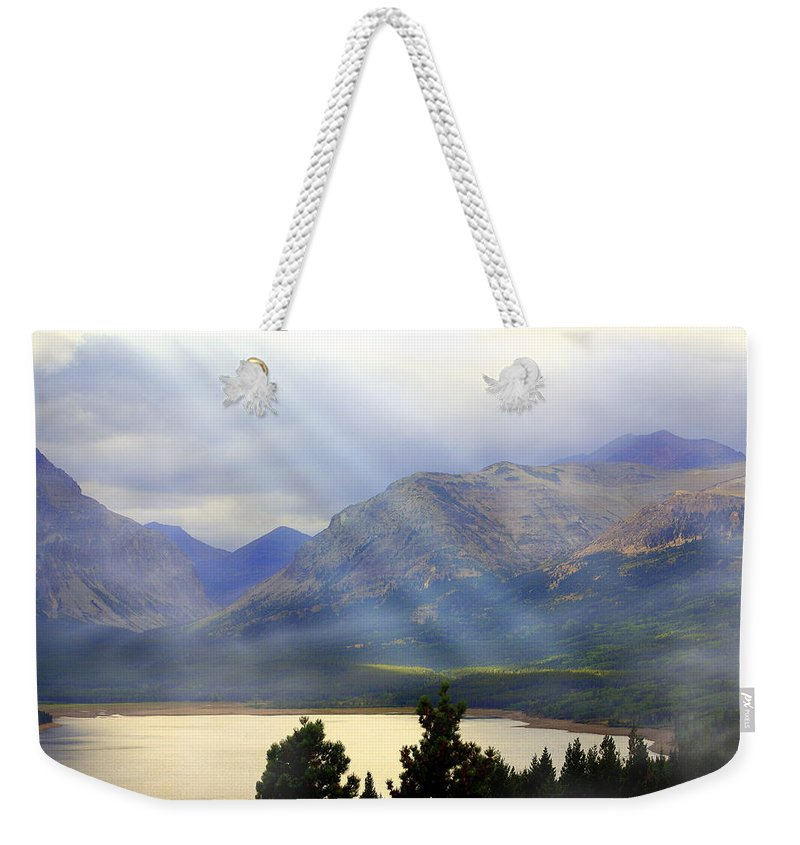 Glacier National Park Weekender Tote Bag featuring the photograph Storms A Coming-lower Two Medicine Lake by Marty Koch