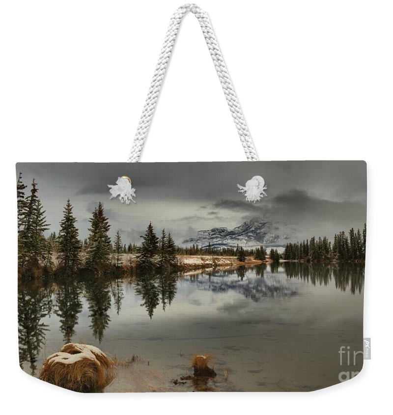 Talbot Lake Weekender Tote Bag featuring the photograph Storms Over Talbot Lake by Adam Jewell