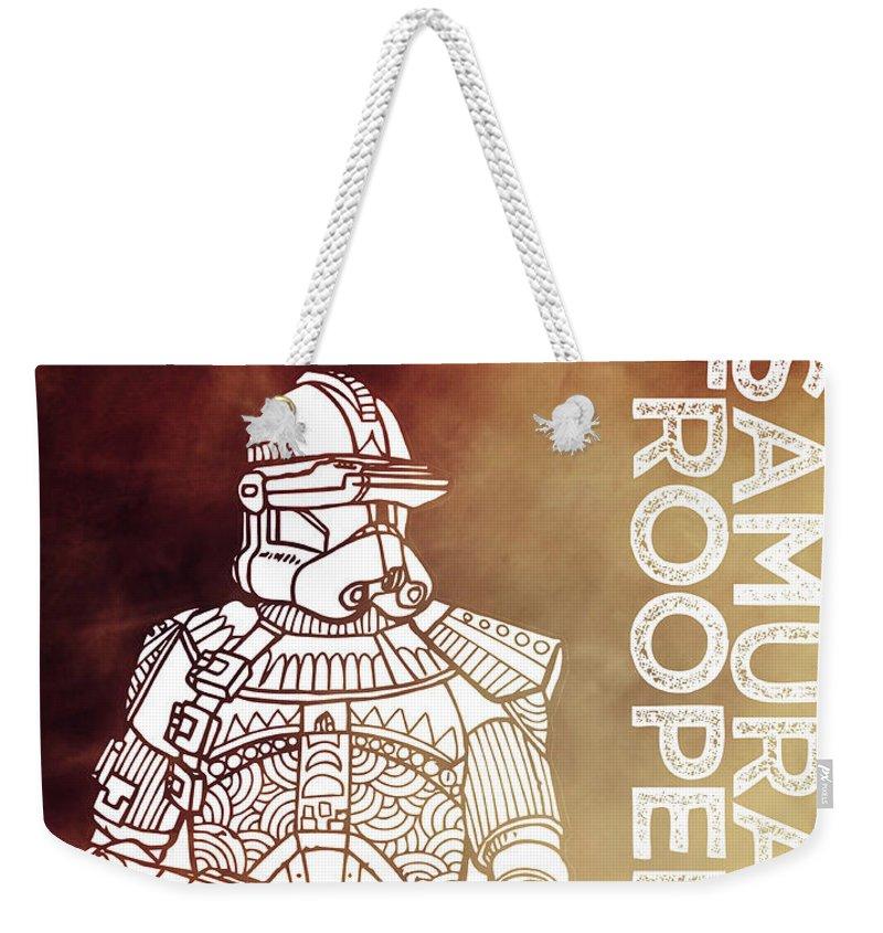Stormtrooper Weekender Tote Bag featuring the mixed media Stormtrooper - Star Wars Art - Brown by Studio Grafiikka