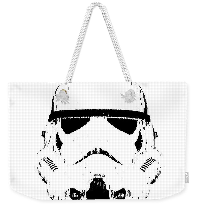 Star Wars Weekender Tote Bag featuring the digital art Stormtrooper Helmet Star Wars Tee Black Ink by Edward Fielding