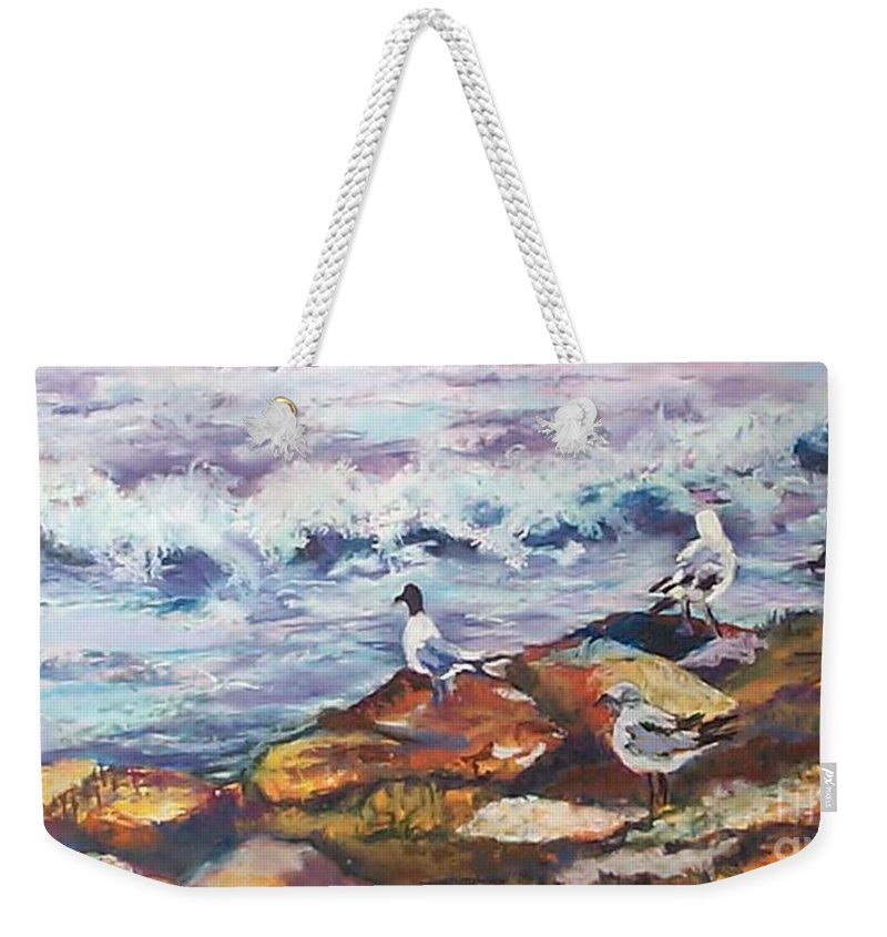 Coastal Weekender Tote Bag featuring the pastel Stormwatch IIi by Alicia Drakiotes