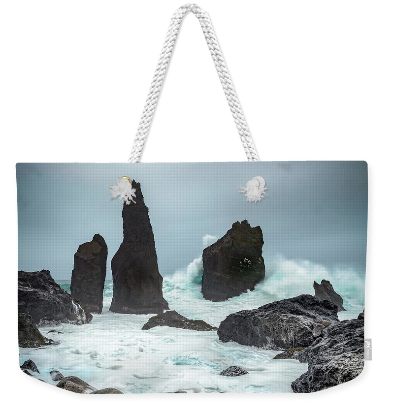 Fulmar Weekender Tote Bag featuring the photograph Stormy Iclandic Seas by Andy Astbury