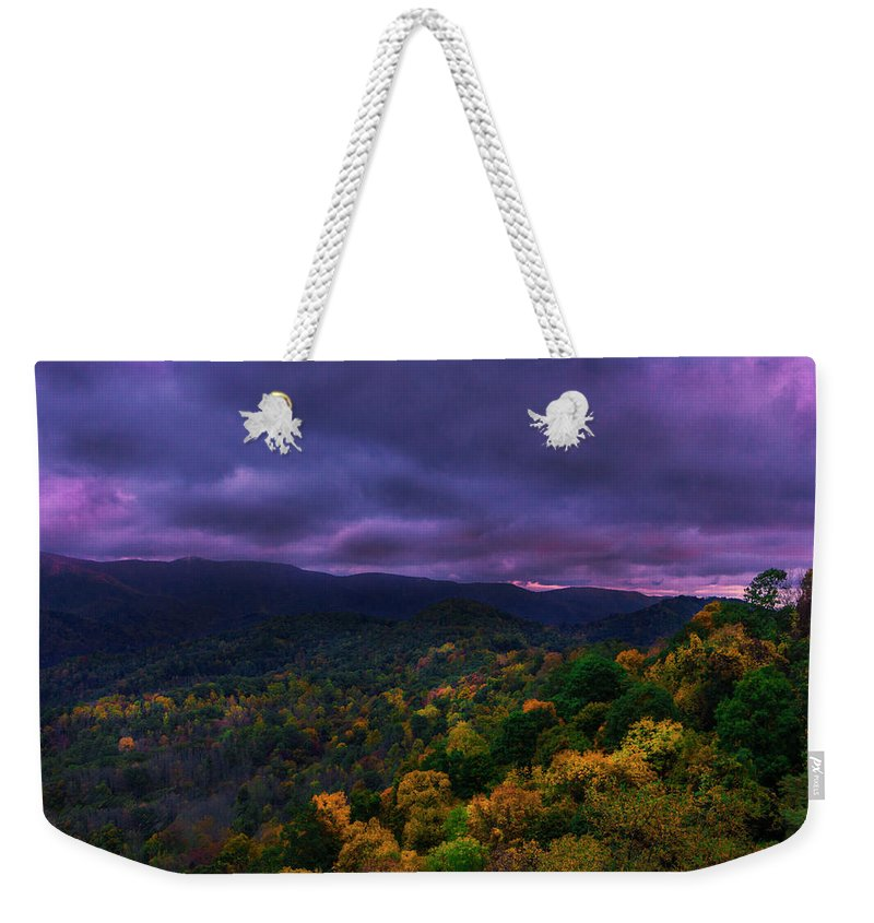 Stormy Weekender Tote Bag featuring the digital art Stormy Morning by Jeremy Rouse