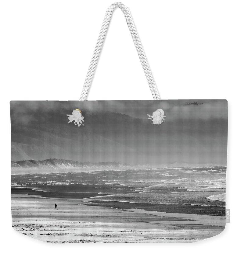 Landscape Ocean Weekender Tote Bag featuring the photograph Stormy Oceanside Oregon by Amyn Nasser