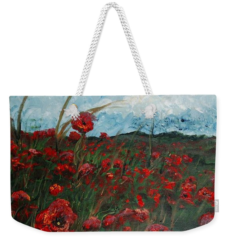 Poppies Weekender Tote Bag featuring the painting Stormy Poppies by Nadine Rippelmeyer