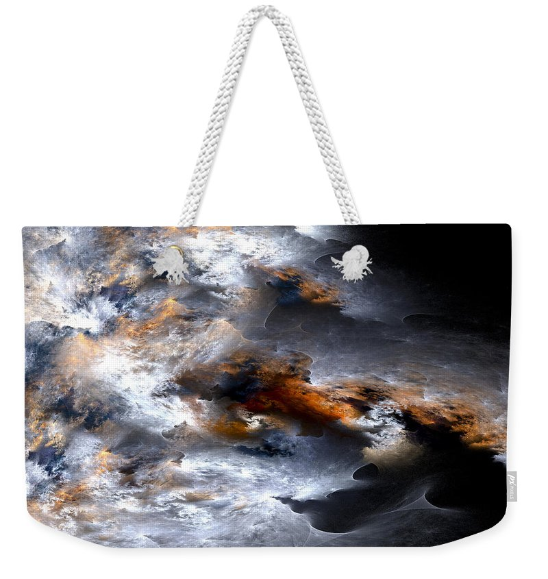 Fractal Weekender Tote Bag featuring the digital art Stormy Seas by Amorina Ashton