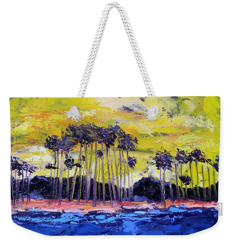 Water Weekender Tote Bag featuring the painting Stormy Shores by Patricia Caldwell