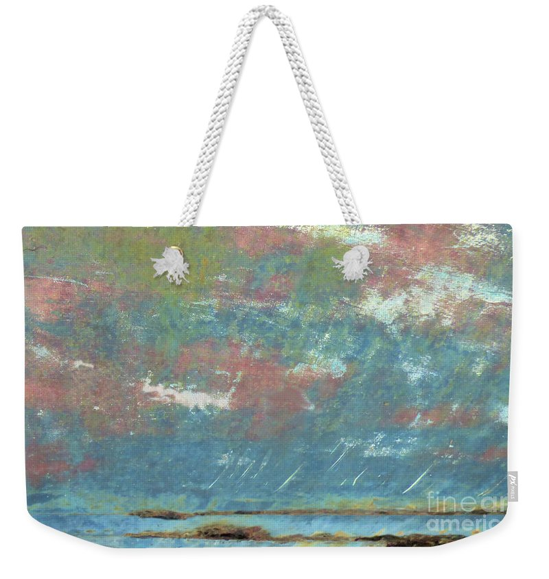 Sharon Eng Weekender Tote Bag featuring the mixed media Stormy Coastal Sunset by Sharon Eng