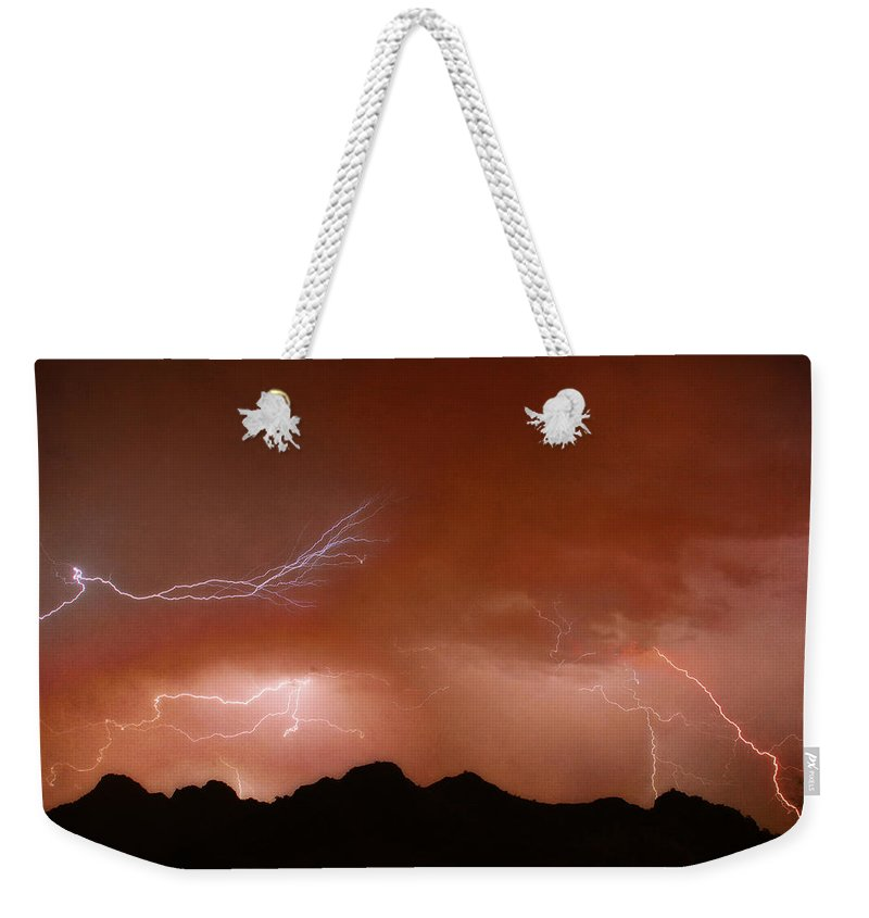 Lightning Weekender Tote Bag featuring the photograph Stormy Weather Above The Mountains by James BO Insogna