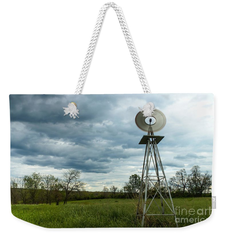 9 Stop Filter Weekender Tote Bag featuring the photograph Stormy Windy Windmill by Jennifer White