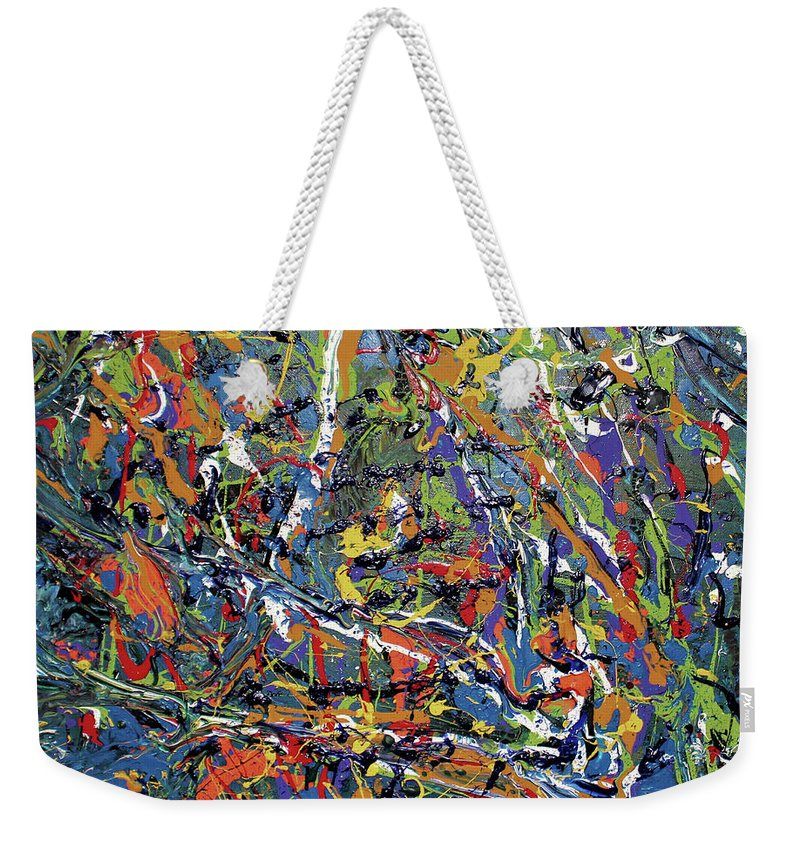 Orange Weekender Tote Bag featuring the painting Stormza Brewin' by Pam Roth O'Mara