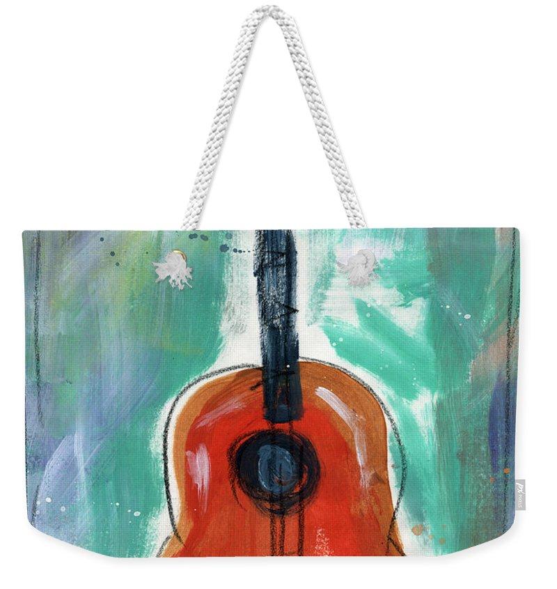 Guitar Weekender Tote Bag featuring the painting Storyteller's Guitar by Linda Woods
